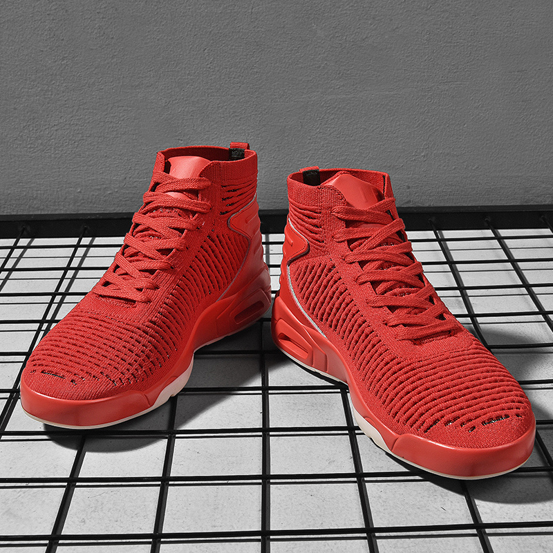 Men's High-Top Lace Up Air-Fly Weave Sneakers Outdoor Fashion Comfortable Running Jogging Shoes Black Flat Shoes Casual Shoes