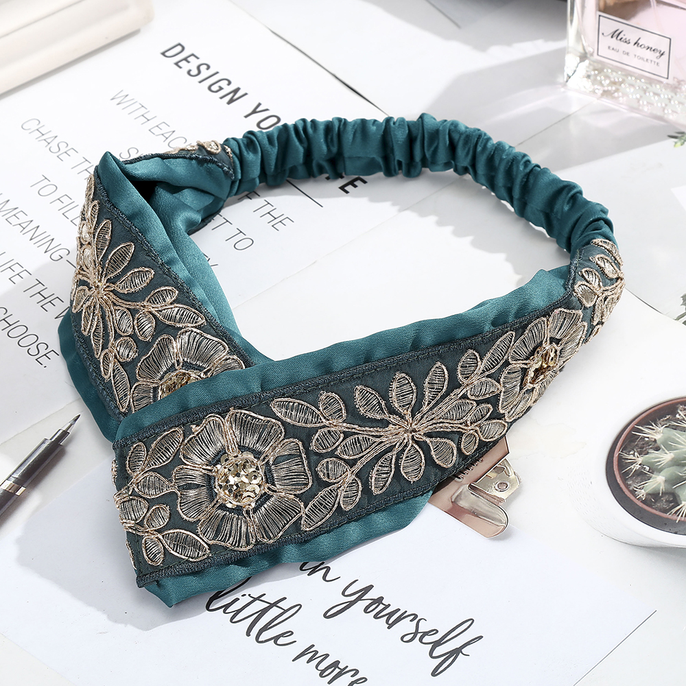 AWAYTR Retro Ethnic Hair Band Embroidery Print Elastic Cross Flower Wide Bow Girl Hair Accessories Headband For Women Hairband