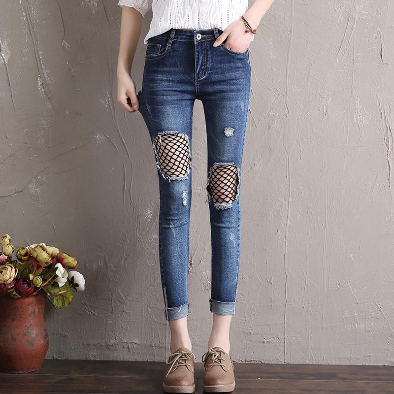 Cheap Wholesale 2018 New Autumn Winter Hot Selling Women's Fashion Casual  Denim Pants  Y321