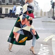 Women's Winter Wool Blends Casual Lapel Suit Geometric Print Long Trench Ladies