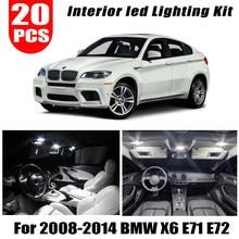 20pcs LED Interior dome map Lights reading bulb full Kit Package for 2008-2011 2012 2013 2014 BMW X6 E71 E72 M
