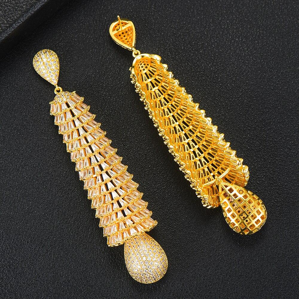 Image 5 - GODKI Luxury Baguette Cut CZ Long Earrings Full Mirco Paved Cubic  Zircon Naija Dubai Wedding Earring Fashion High End JewelryDrop  Earrings
