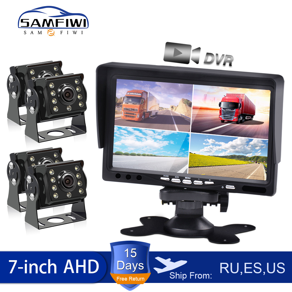 Ahd 7 polegada caminhão carro monitor 4ch quad dvr vídeo ips gravador de tela para motorhome reverso backup veículo câmera DC12-24-36V