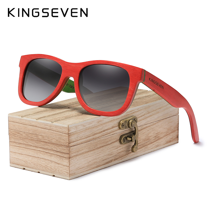 KINGSEVEN Handmade 2020 Natural Wooden Men's Glasses Polarized Sunglasses Gradient Lens Women Traveling Vintage Oculos De Sol