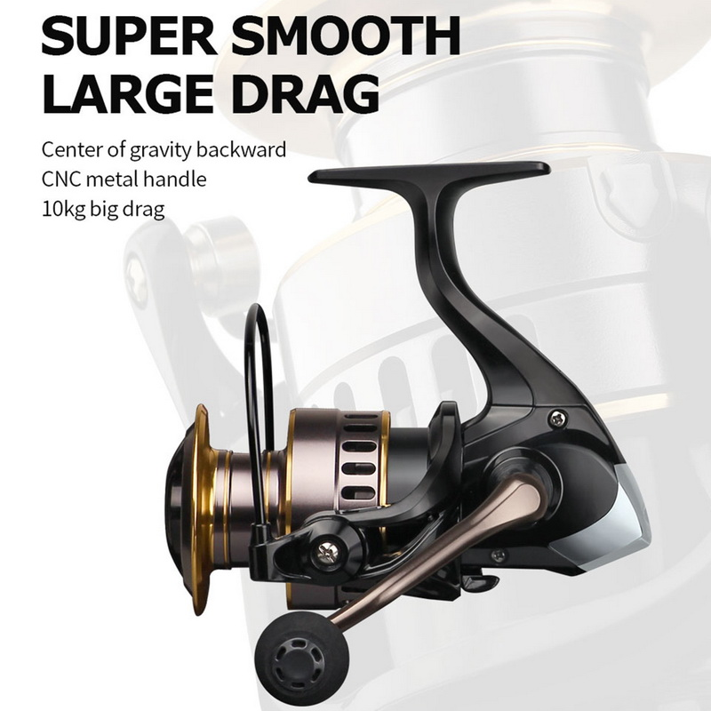 2020 New Fishing Reel HE1000-7000 Max Drag 10kg Reel Fishing 5.2:1 High Speed Metal Spool Spinning Reel Saltwater Reels