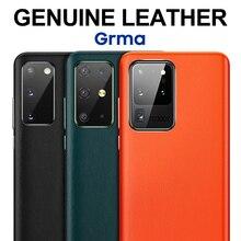 Funda trasera de piel auténtica vegana para Samsung S20, Funda de cuero Ultra Vegano para Samsung Galaxy S20 Plus