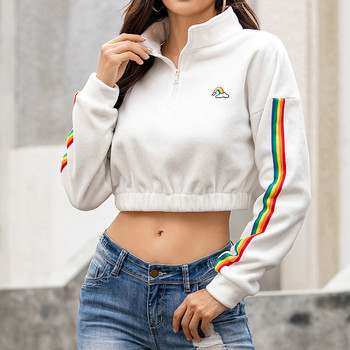 цена на худи толстовка женская hoodie Coat women's Autumn Thin section Long Sleeve Print O-Neck Casual Teenager Short Sweatshirts