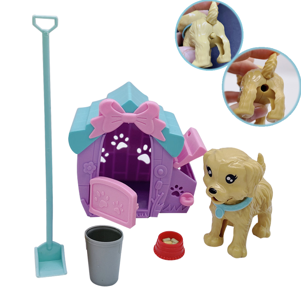 Barbies Princess Doll House Accessories Plastic Dog Pet Toy Dog Poop Set Children's Educational Interactive Toys