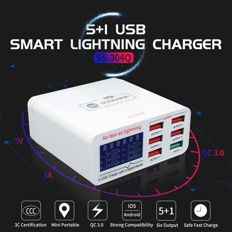 NEW 100V-240V Phone Tools 6 Port Intelligent Fast Charger for iPhone Samsung Huawei Repair Tools Mobile Phones Ferramentas