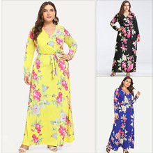 Flower print long sleeve african plus size women clothing bu
