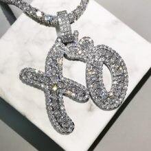 Bling Letters Pendant Necklace AAA Zircon Heart XO Celebrity Style Mens Necklace Fashion Rap Hip Hop Jewelry