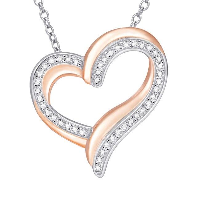 925 sterling srebrne dla zakochanych naszyjnik z błyszczącą cyrkonią wysokiej jakości różowe złoto moda damska biżuteria dla dziewczyny najlepszy gif