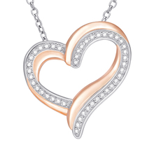 925 סטרלינג כסף אהבת שרשרת עם הניצוץ zirconia בדרגה גבוהה עלה זהב נשים של תכשיטים עבור הטובה ביותר gif