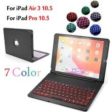 Per Il caso di iPad Air 3 10.5 2019 Astuta di Sonno 7 Colori di Luce Retroilluminato Tastiera Senza Fili di Bluetooth Della Copertura di Caso Per iPad pro 10.5