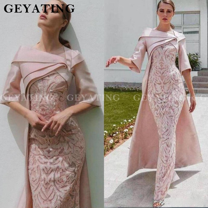 Arabic Blush Pink Lace Mermaid Evening Dress With Cape Half Sleeve Pleat Long Dubai Women Formal Dresses Party Gowns Kaftan