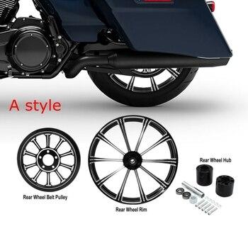 """De 18x5,5 """"llanta para rueda trasera y hub y polea de correa dentada para Harley Touring FLTR FLHT FLHR FLHX 2009-2017"""