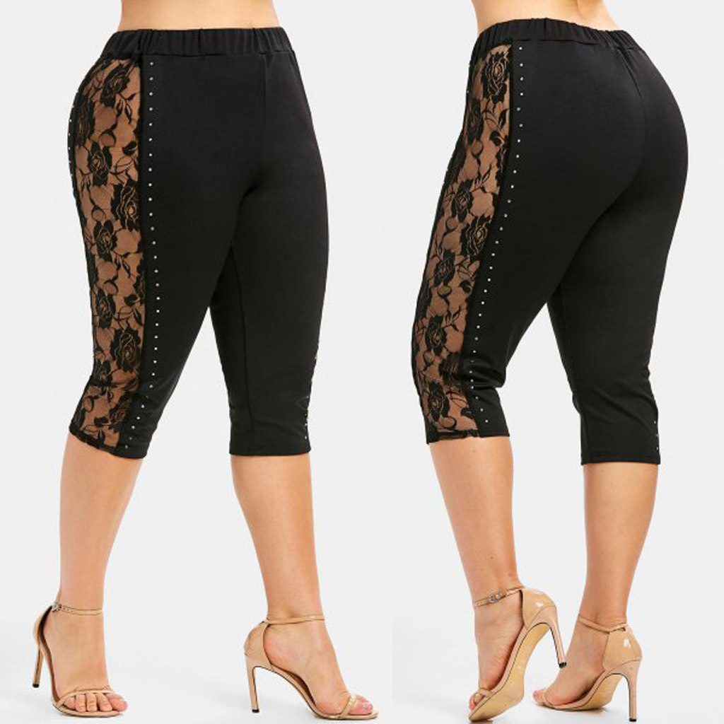 European And American-Style 2019 Summer New Style Knitted Mesh Rose Beads Stretch Capri Pants