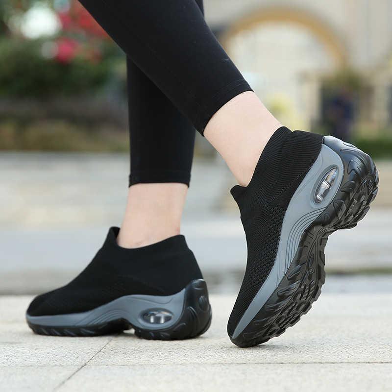 Almohadón de aire zapatillas de Mujer aumentar los Zapatos de plataforma de malla transpirable al aire libre Zapatos deportivos calcetines Zapatos Deportivos negros Mujer