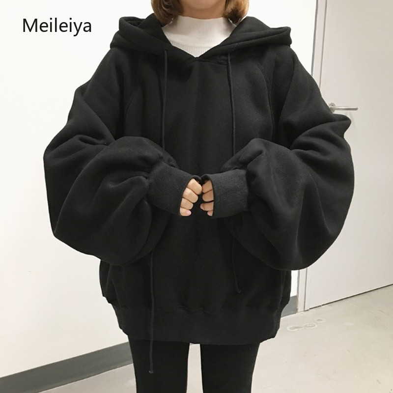 Casual Hoodies Women Brand Long Sleeve Thick Warm Hooded Black Sweatshirt Hoodie Coat Casual Sportswear Pullovers Oversize