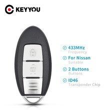 KEYYOU-llave de coche con Control remoto, para Nissan Micra K13/ Juke F15/ Note E12/ Leaf / Tiida después de 2016, 2 botones, 433MHz, ID46