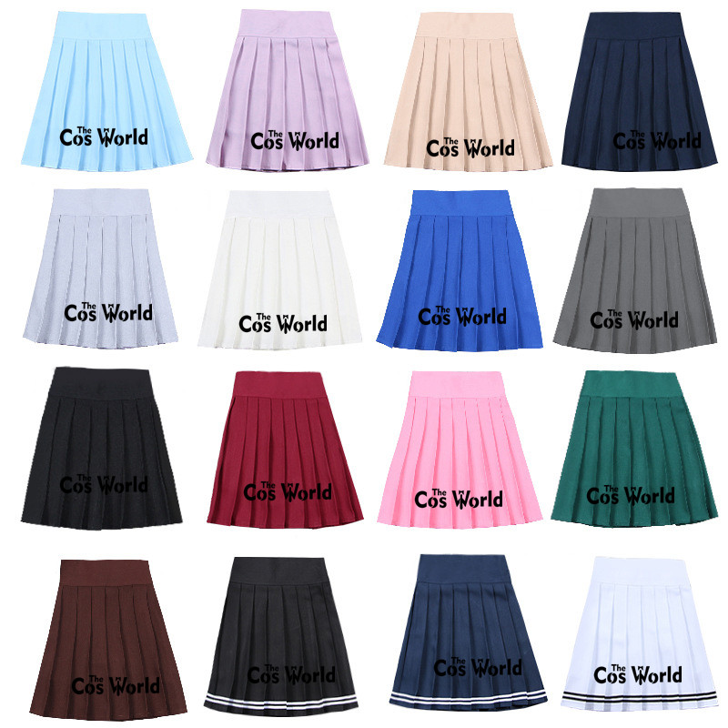 S-XXL 17 Solid Colors Girl's Summer High Waist Safety Pants Pleated Skirts Women's Dress For JK School Uniform Students Cloths