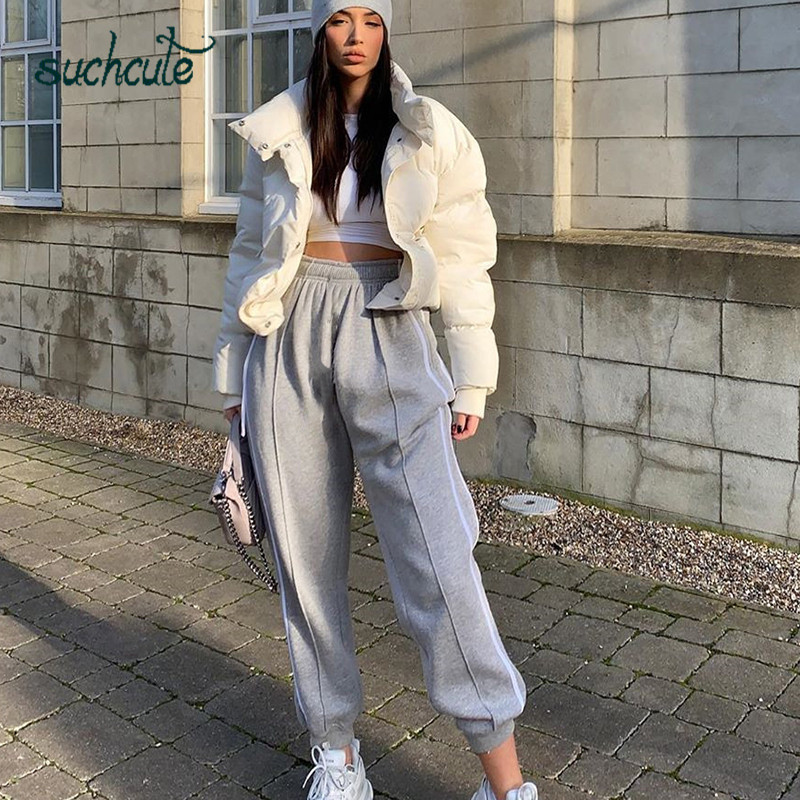 SUCHCUTE Harem Women Pants Stretch Winter 2019 Casual Grey Pant Party Casual Cotton Sport High Waist Trousers Wild Club Fitness