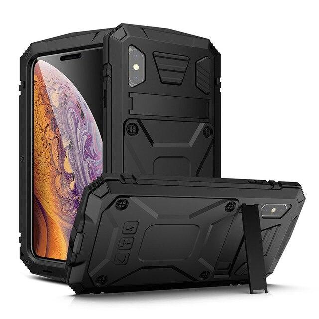 הלם קליטה מגן מקרה עם Kickstand עבור iPhone 11 2019 מתכת אלומיניום אבק הוכחה טלפון כיסוי עבור iPhone X XS Max XR