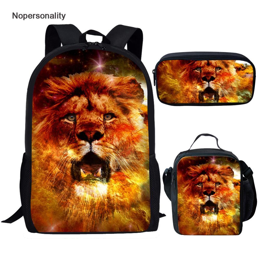 Nopersonalité impression 3d Animal Lion sac à dos pour les garçons de l'école Cool primaire Junior enfants enfants sacs à dos étudiant sac à dos ensemble