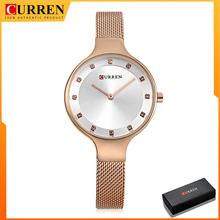 CURREN klasyczne proste damskie zegarki kwarcowe ze stali nierdzewnej zegarki damskie małe i eleganckie damskie zegarki tanie tanio QUARTZ Sprzączka CN (pochodzenie) STOP 3Bar Moda casual 9008