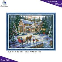 Joy Sunday Christmas Return Cross Stitch F53114CT 11CT Counted and Stamped Home Decor from kits