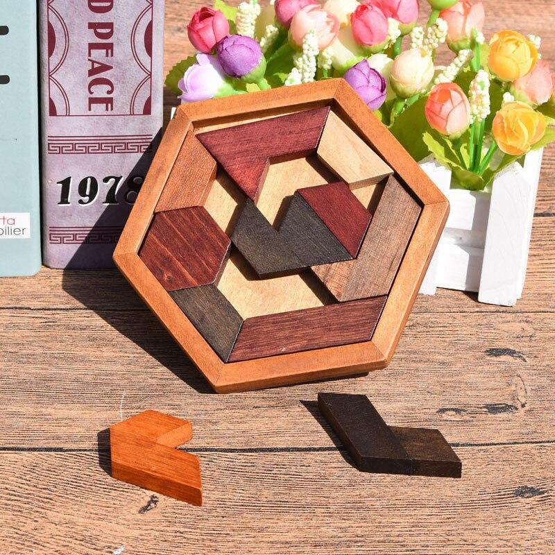 3D Деревянные Пазлы настольные Игрушки Tangram Детские геометрические головоломки игрушки развивающая детская игрушка, подарок ZXH 6