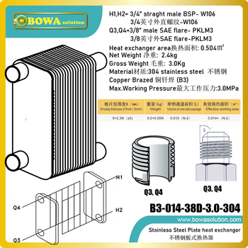 0.5sqm compact size stainless steel PHE with ports on different sides is designed as 5KW condenser of water cooled water chiller