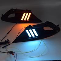 2PCS LED בשעות היום ריצת אור עבור טויוטה קורולה 2017 אביזרי רכב עמיד למים ABS 12V DRL ערפל מנורת קישוט|עיצוב כרומיום|   -