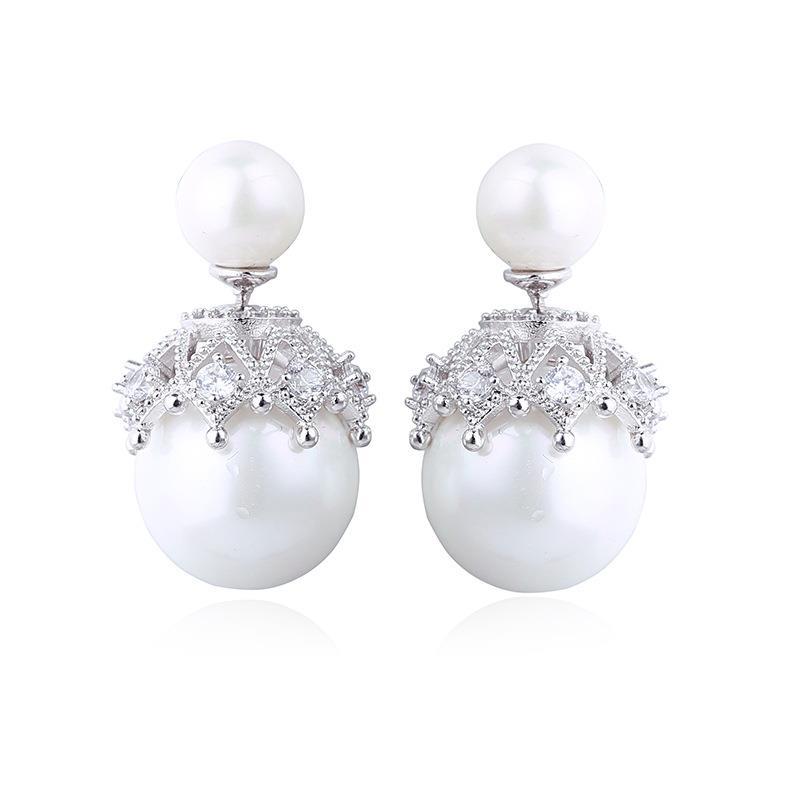 YANMEI Double Pearl Stud Earring For Women Cute Earrings Girl Fashion Gift AAA Cubic Zirconia Boucle D'oreille YME5689Y