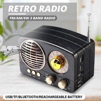 MIni Portable Retro Radio Handheld Receiver AM FM SW+bluetooth Speaker AUX USB TF MP3 Phone Music Player Rechargeable Radio
