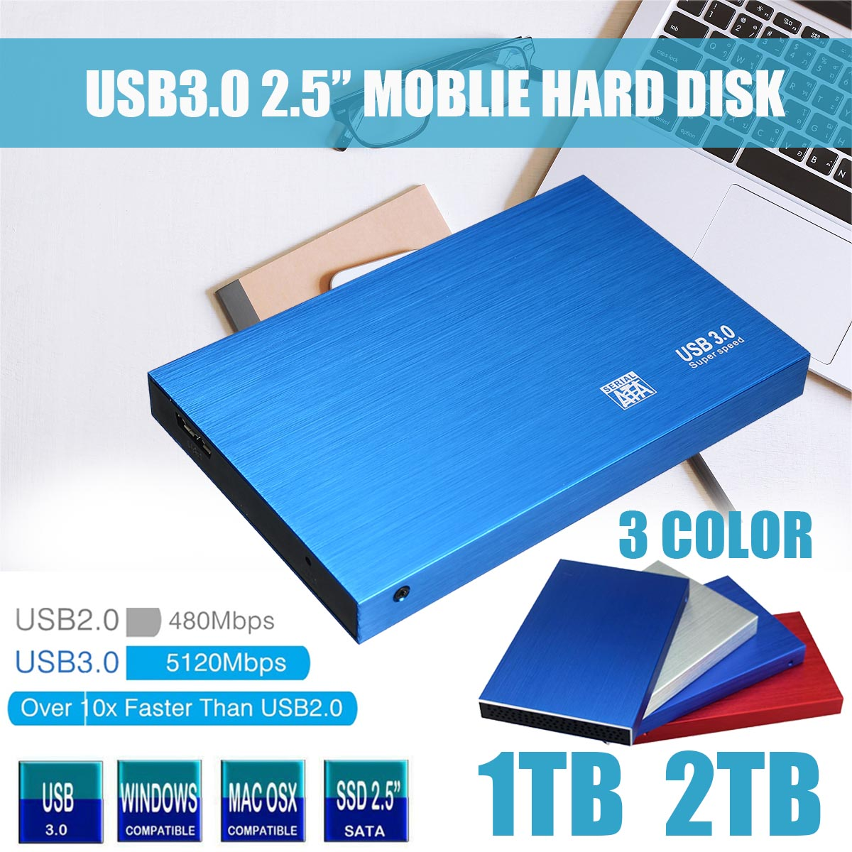 2.5 External Hard Drive 1TB 2TB Storage USB3.0 HDD Anti-vibration And Anti-fall Mobile Hard Disk For Mac TV Box