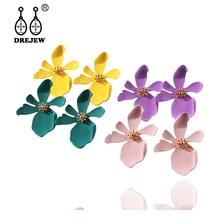 DREJEW Flower Yellow Purple Red White Pink Green Statement Earrings Fashion Alloy Stud for Women Wedding Jewelry HE891