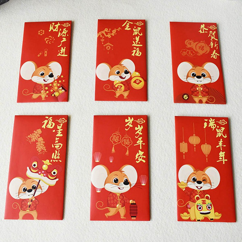 6pcs/set 2020 Chinese New Year Red Money Envelope Year Of The Rat Packet Bags