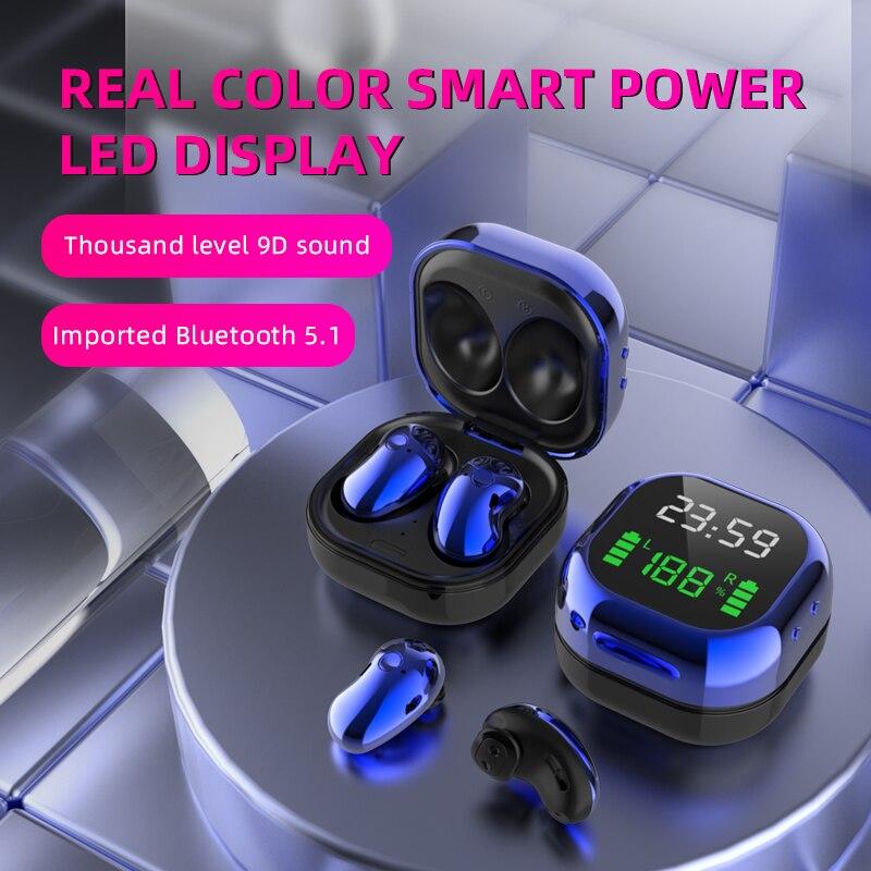 Plutws – écouteurs sans fil Bluetooth 5.1, casque de jeu, stéréo, commande tactile, suppression du bruit, S6