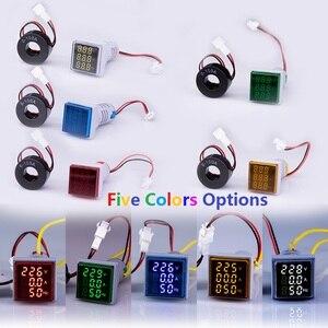 Цифровой 3в1 22 мм Вольтметр Амперметр Hz индикатор AC 60-500 В 0-100A 20-75 Гц измеритель тока цифровой усилитель напряжения Светодиодная лампа