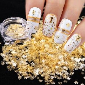 Image 1 - 1 pièces or neige flocons ongles paillettes étincelles métallique fleurs hiver 3D paillettes Paillette décor accessoires manucure outils BE889