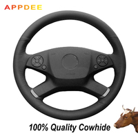 Hand-stitched Black Genuine  Leather Steering Wheel Cover for Mercedes Benz E-Class W212 E 200 260 300 2009-2013
