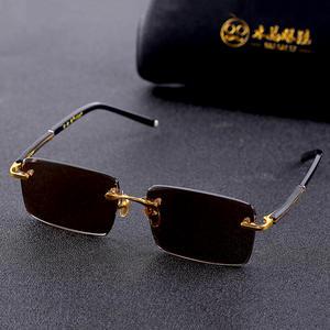 Vazrobe Sunglasses Men Rimless Vintage Natural-Lens Women UV400 for Man Anti-Scratch