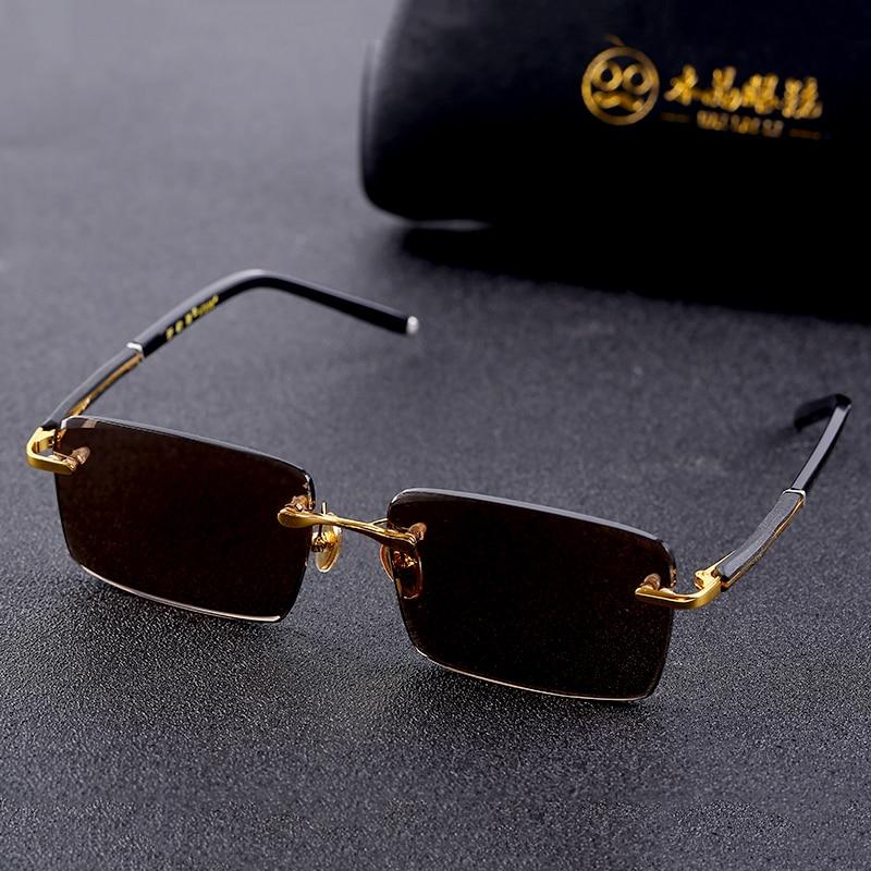 Vazrobe Glass Sunglasses Male Ladies Rimless Sun Glasses For Men Brown Stone Lens Anti Scratch Brand Designer Vintage Eyewear
