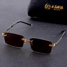 Vazrobe Glass Sunglasses Male Ladies Rimless Sun Glasses for Men Brown Stone Len