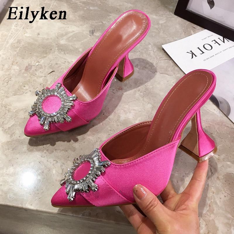 Eilyken Rose Red Women Pumps Silk Satin Pointed Toe Rhinestone Crystal High Heels Woman Wedding Pumps Slip On Cup Heeled Mules