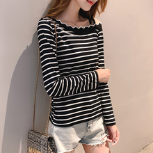 T-shirt Women Autumn Casual Women Shirts One Word Collar Embroidery Letter Print Striped Long Sleeve T-shirt