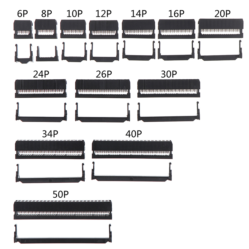 10set 6/8/10/12/14-50Pin IDC Socket Pin Dual Row Pitch 2.54mm IDC Connector 6-50 Pin Cable Socket Plug Ribbon Cable Connector