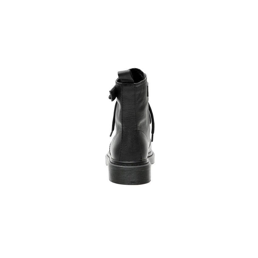 Image 4 - QUTAA 2020 פרה עור עגול הבוהן תחרה למעלה סתיו חורף מקרית אמצע עגל מגפי עקב נמוך כיכר אופנה מסמרת נשים נעלי Size34 42מגפיים אמצע שוקיים   -