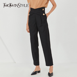 TWOTWINSTYLE Black Straight Trouser For Women High Waist Cross Plus Size Wide Leg Pants Female 2020 Fall Fashion New Stylish